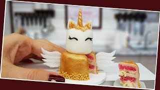 Mini gold UNICORN-Angel cake/ real mini cake / Jenny's mini cooking /  食べれるミニチュア