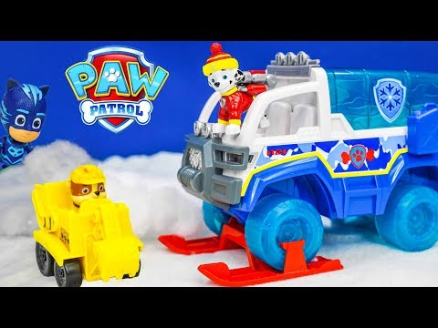 Unboxing the Paw Patrol Snow Patrol Artic Vehicle with Pj Masks toys