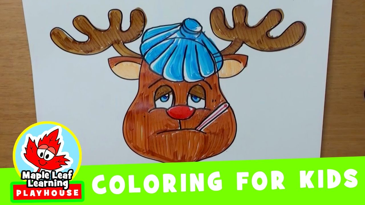 reindeer christmas coloring pages for kids | maple leaf learning