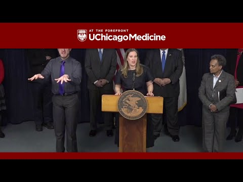 Dr. Emily Landon at the Illinois Governor's COVID-19 Press Conference