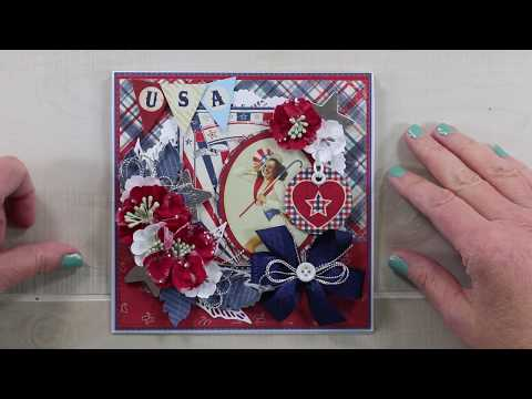 Vintage Patriotic Easel Greeting Card Tutorial Polly's Paper Studio Authentique Papers  Holiday Deco