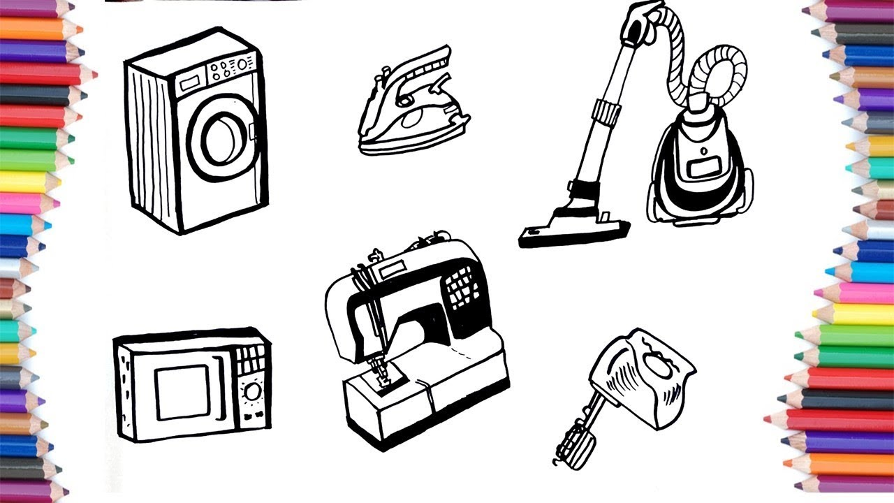 How To Draw Home Appliances For Kids Youtube