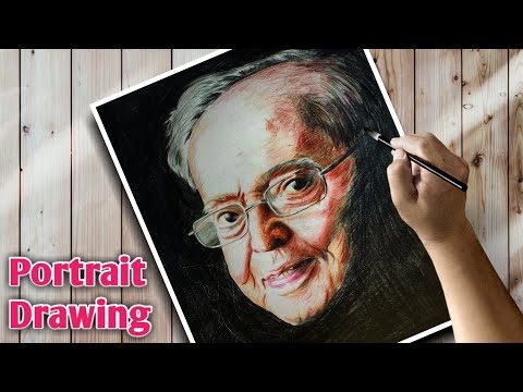 Pranab Mukherjee Portrait Drawing _ Colour Pencil drawing for beginners