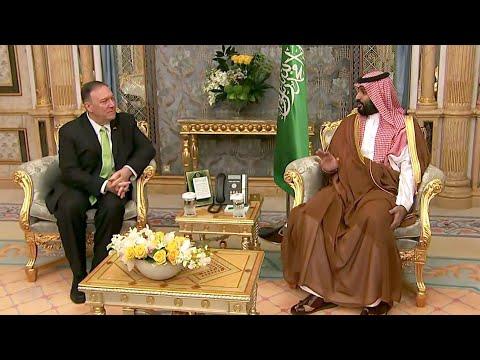 """Майку Помпео задали """"неудобный"""" вопрос во время встречи с наследным принцем Саудовской Аравии."""
