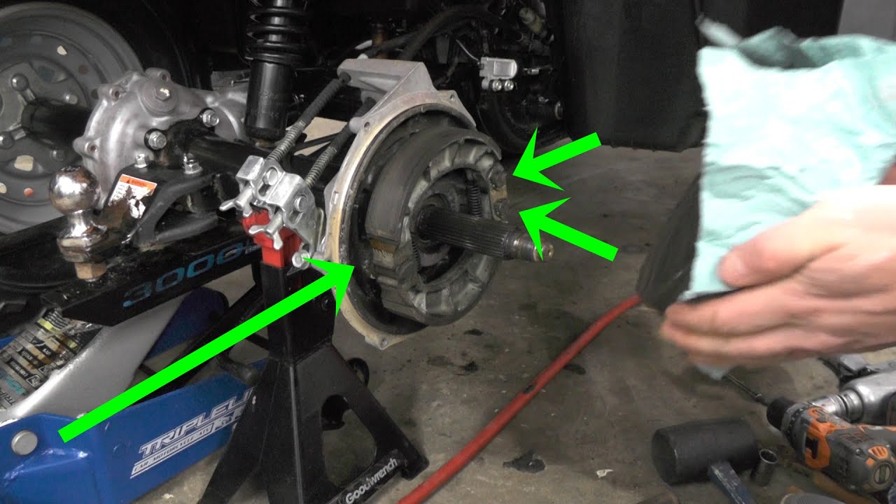 How to change Rear Brakes on Honda Rancher 350: also Stuck