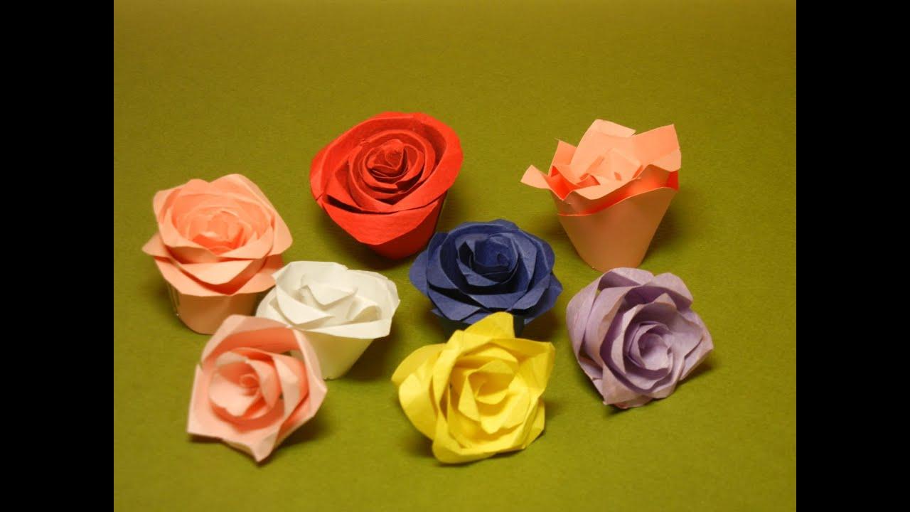すべての折り紙 折り紙 バラ 立体 : バラの切り折り紙 - YouTube