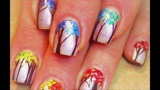 Nail Art Tutorial | Diy Easy Rainbow Tree Nail Design