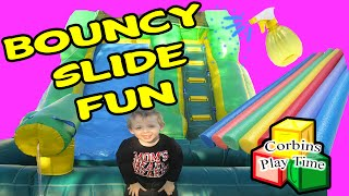 Jumping Castle Slide, Pool Noodles, and Spray Bottle Fun Corbins Play Time