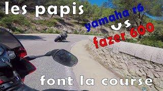 [RAW] YAMAHA R6  vs  FAZER 600   route des Thermes   ft. Jo'LaDouille