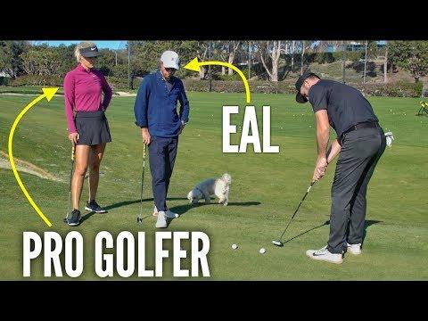 Crazy Putting Challenge vs. Pro Golfer Michelle Wie & Erik Anders Lang