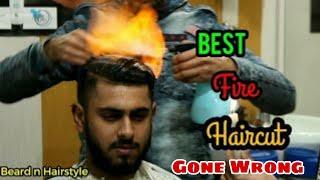 My first hair cutting 2019   fire cutting   Beard n Hairstyle