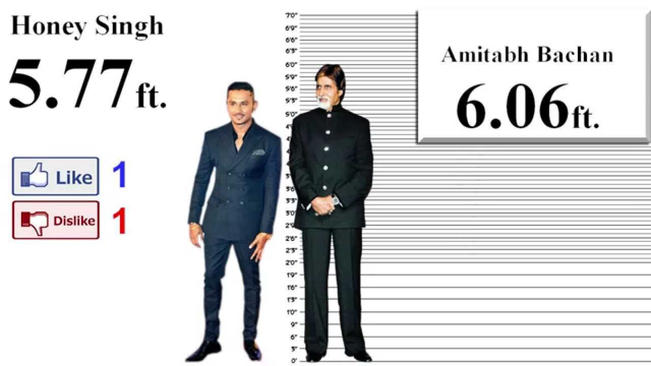 Yo Yo Honey Singh Height Comparison with 35 Stars - YouTube