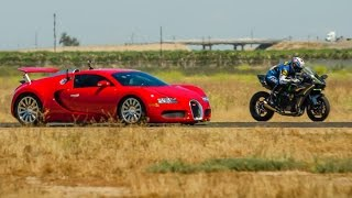 Kawasaki Ninja H2r vs Bugatti Veyron Drag Race Lamborghini Aventador vs F16 Fighting Falcon thumbnail