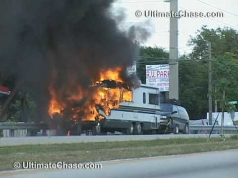 Beautiful Flames Destroy A Camper Trailer On Highway 400 Northbound In Innisfil