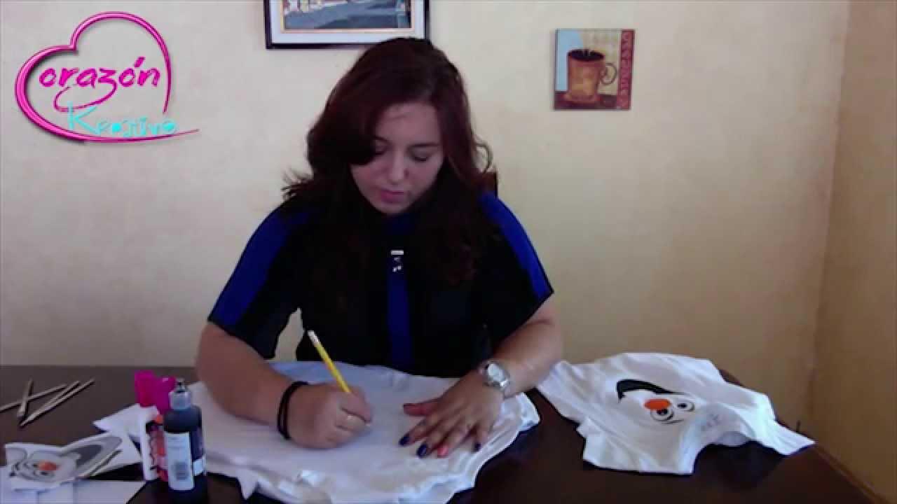 Como personalizar una playera o camiseta con pintura y dibujos animados  (Frozen) - YouTube 91182cde0ebea
