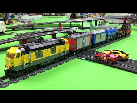 LEGO Train Crossing Carrera GO Slot Car Track!