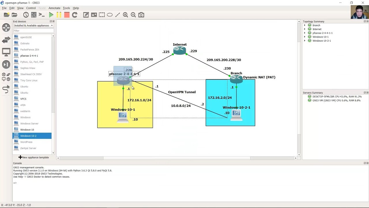 hight resolution of pfsense 2 4 4 openvpn server and client test on gns3