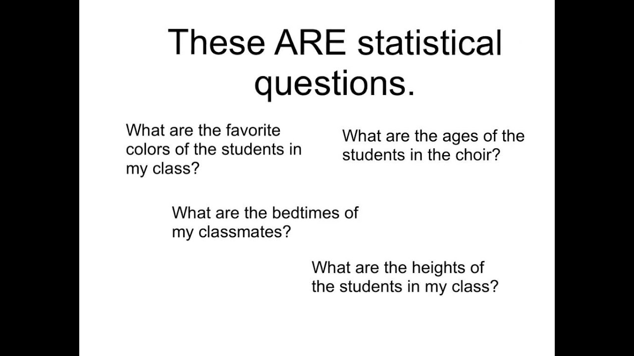 Statistical Questions  YouTube