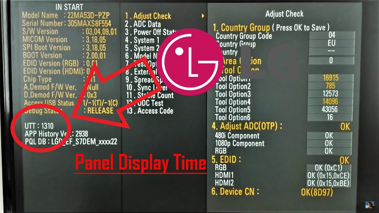 Lg Tv Display Total Usage Hours Utt And Hours Reset
