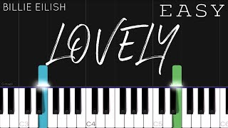 Billie Eilish x Khalid - Lovely   EASY Piano Tutorial