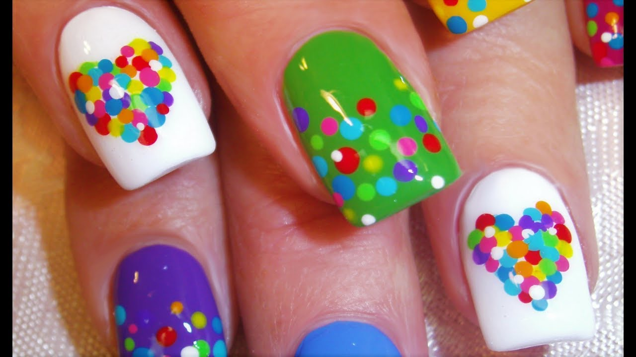 Easy rainbow dot nails cute nail art dotticure design tutorial easy rainbow dot nails cute nail art dotticure design tutorial youtube prinsesfo Image collections