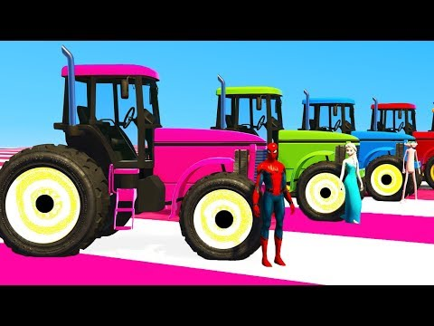 Thumbnail: COLOR TRACTOR for Kids And Helicopter Spiderman Cars - Learn Colors w Superheroes Cartoon 3d