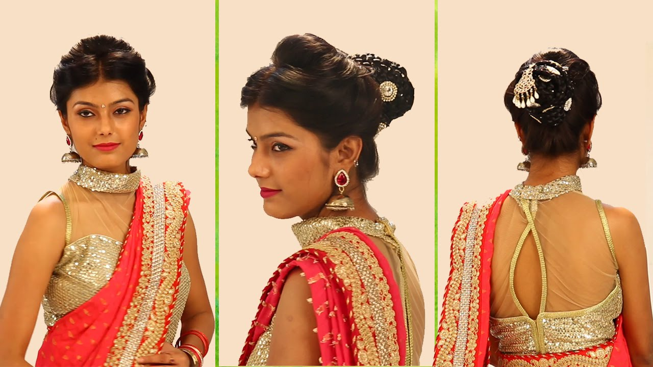 indian bridal hairstyles step by step - simple & bridal bun