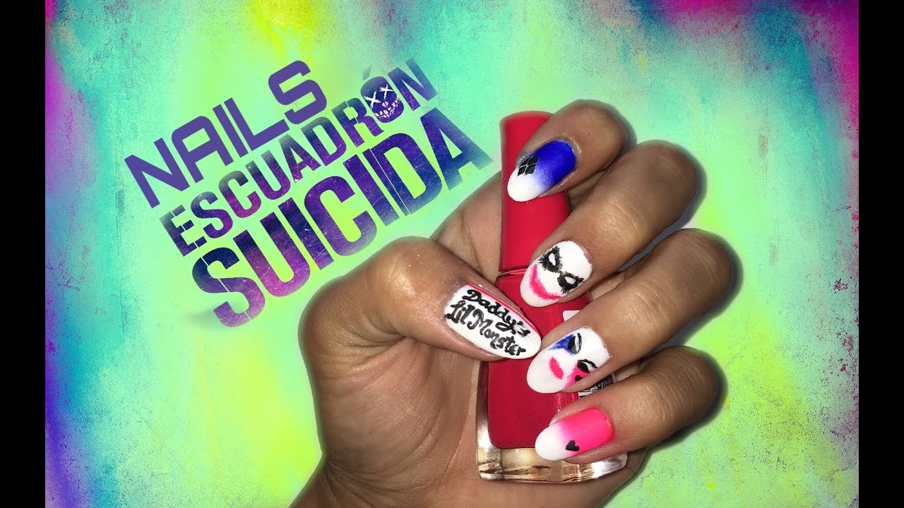Diseño de uñas Harley Quinn y Joker de Escuadrón Suicida - Suicide ...