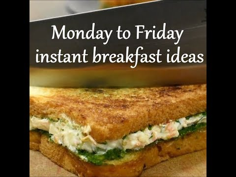 Monday to Friday Easy breakfast recipes | weekdays breakfast ideas |Indian instant breakfast recipes