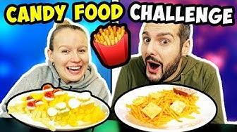 CANDY FOOD CHALLENGE mit Kaan & Kathi Wer kann besser POMMES ROT WEIß aus Süßigkeiten nachbasteln?