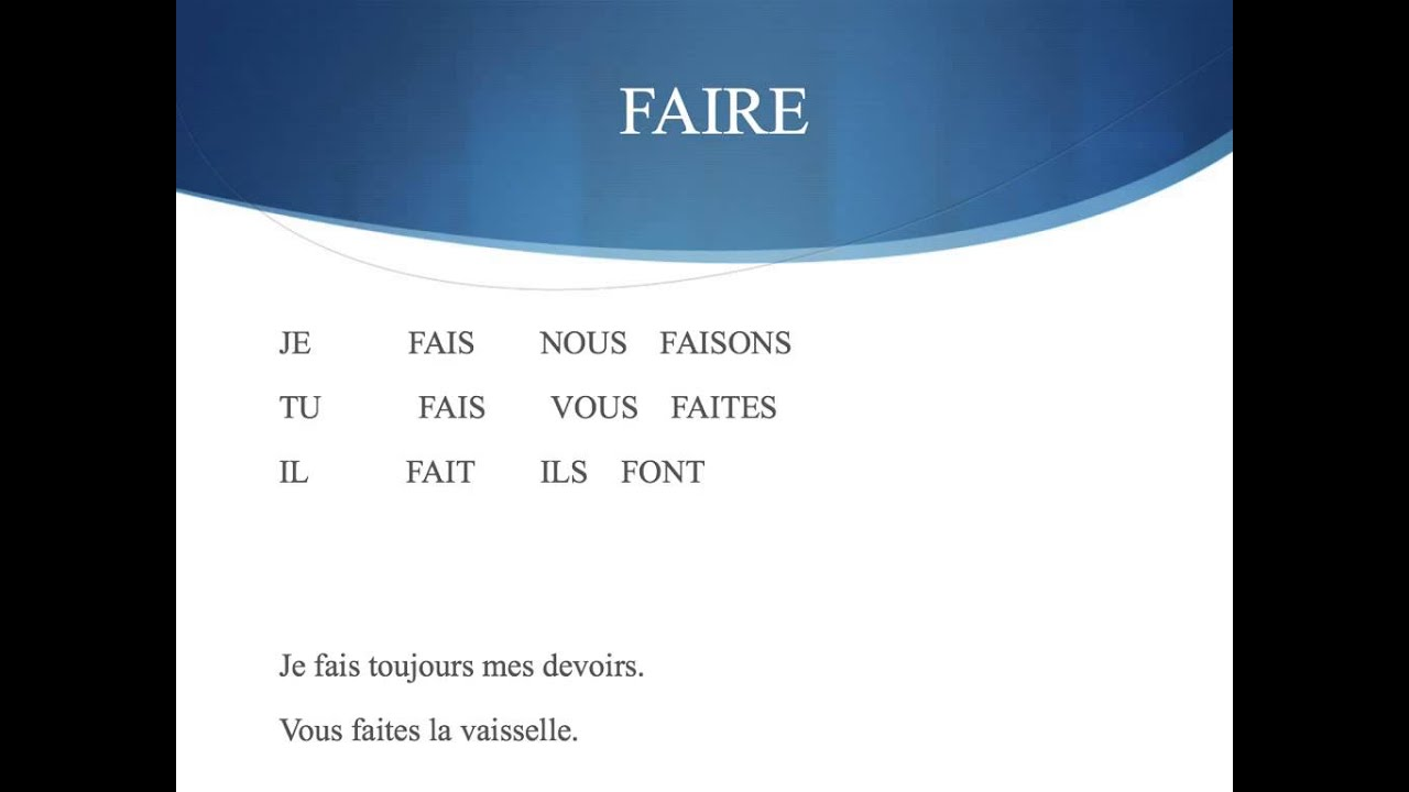 Faire conjugation - YouTube