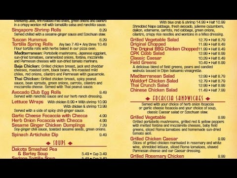 California Pizza Kitchen Menu california pizza kitchen menu price - youtube
