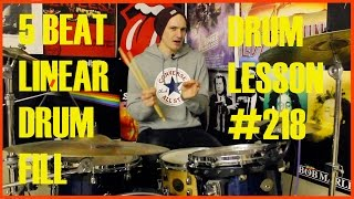 Fun 5 Beat Linear Drum Fill - Drum Lesson #218