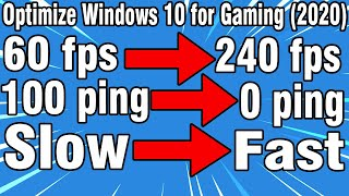 How To Optimize Winḋows 10 for Gaming(Working 2020!) Increase FPS and Performance!