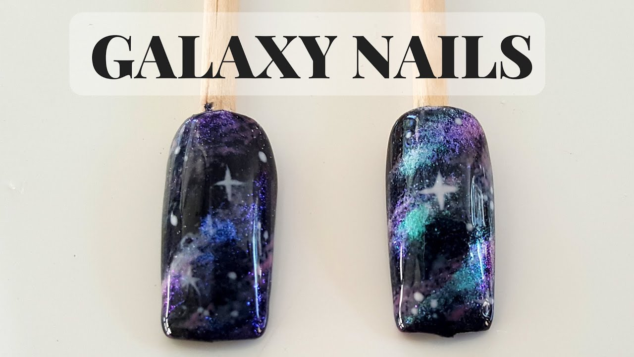 How to Galaxy Nails Gel Polish Nails - TUTORIAL - YouTube