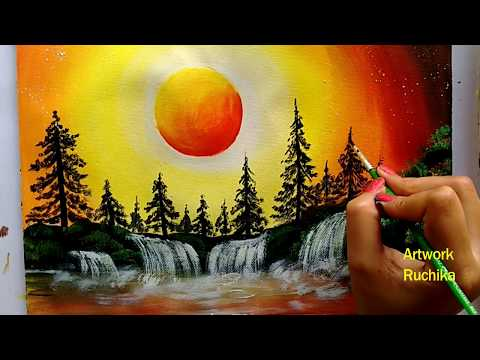 Waterfall Landscape Painting | Sunset Scenery Painting | Acrylic Painting for Beginners