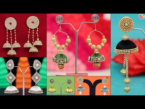 9 Beautiful Handmade Earrings Making at Home !!! Party Wear.....