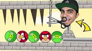 اقطع الحبل و انقذ الطيور من الخنازير Angry Birds Pigs Out !! 🐦🐷