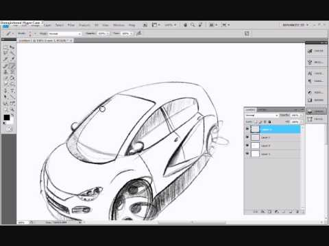 Car design tutorial photoshop sketch and render