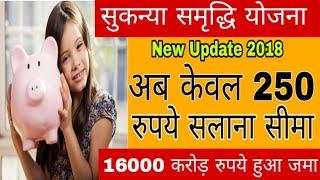 Sukanya Samriddhi yojana new update - अब 250 रूपए की सालाना सीमा - Sukanya yojana deposit scheme