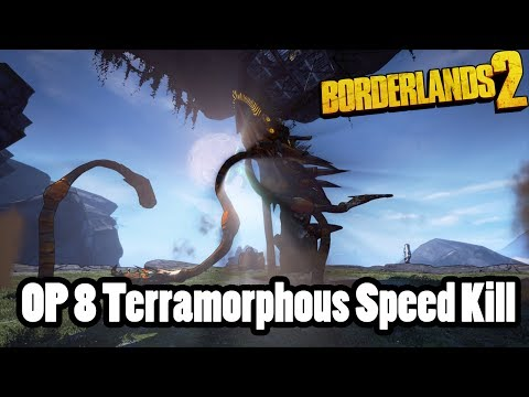 Borderlands 2: (:38) Terramorphous Raid Boss Speed Kill, Sniper Zer0, OP 8