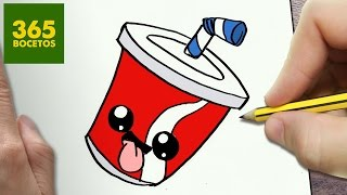 COMO DIBUJAR REFRESCO KAWAII PASO A PASO - Dibujos kawaii faciles - How to draw a SODA