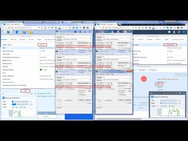 Synology DS118 (Ext4) vs DS3018xs (Btrfs) SMB write performance Test