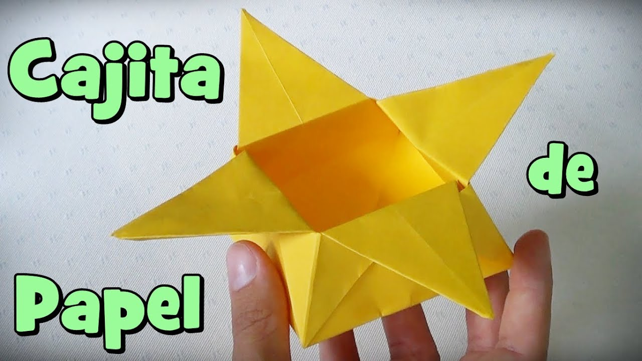 Caja de papel estrella cajita de origami 123vid - Cajas forradas de papel ...