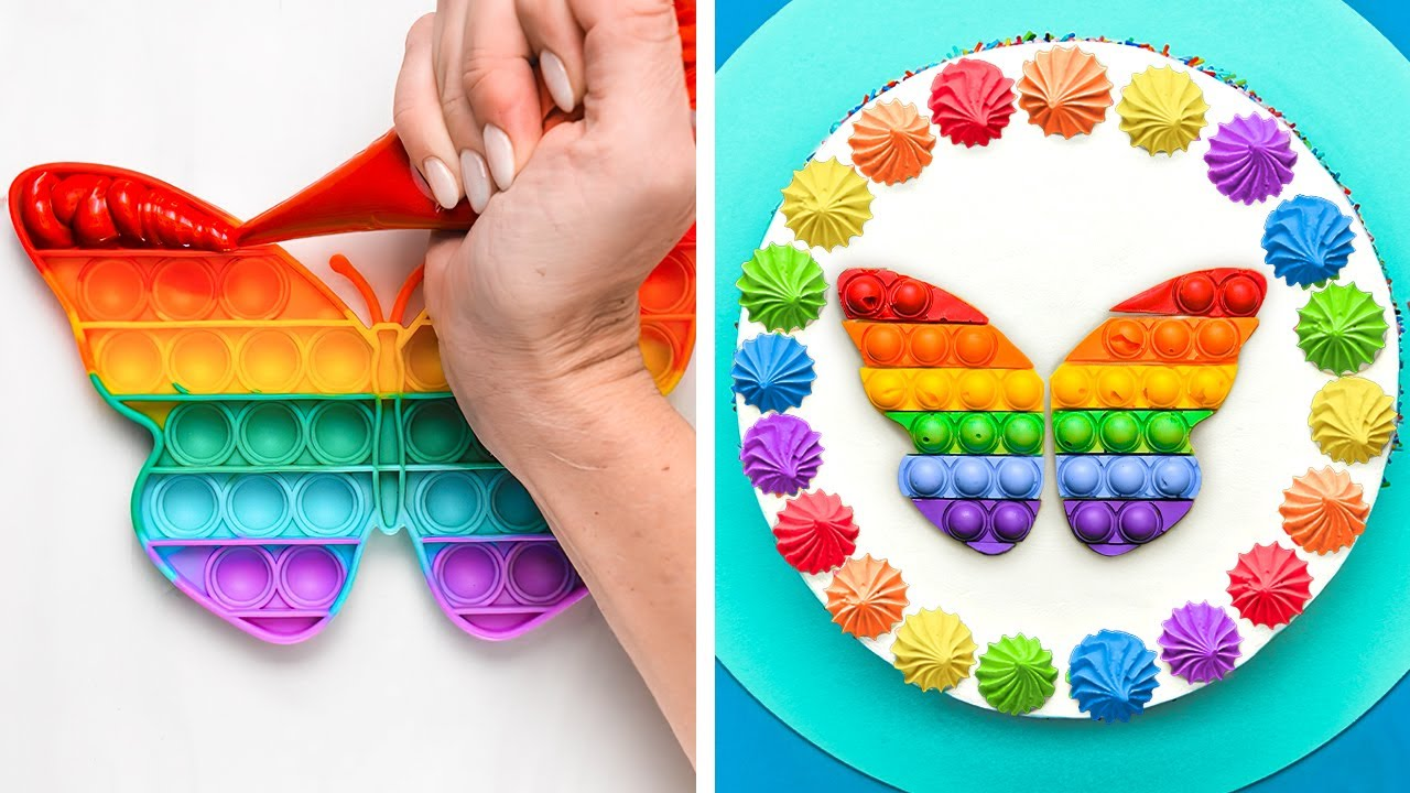 RAINBOW POP IT CAKE 🎂🌈    Yummy And Adorable Dessert Ideas And Food Recipes For The Whole Family