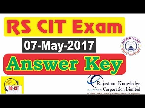 RSCIT Exam Answer Key 7 MAY 2017|rkcl rscit exam ans key| Rkcl answer key May 2017