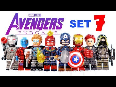 Avengers Endgame Set 7 Unofficial LEGO Minifigures W/ Captain Marvel Iron Man Ronin & Black Widow