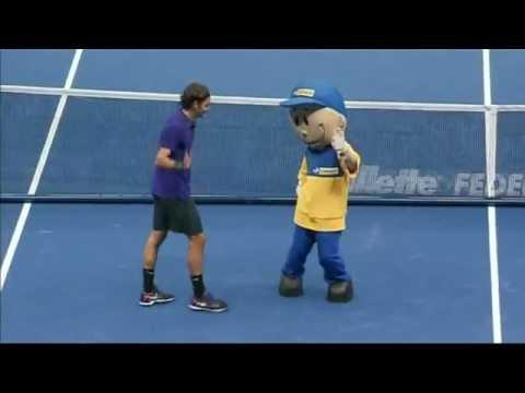 Roger Federer and Tsonga dancing [Moonwalk] with the Mascot in Sao Paulo Brazil