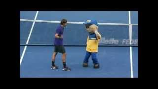 Roger Federer and Tsonga dancing [Moonwalk] with the Mascot in Sao Paulo Brazil