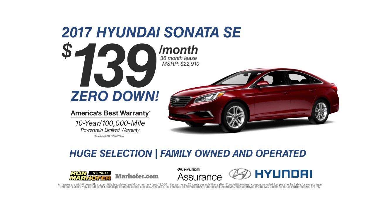 Ron Marhofer Hyundai March 2017 Specials Youtube